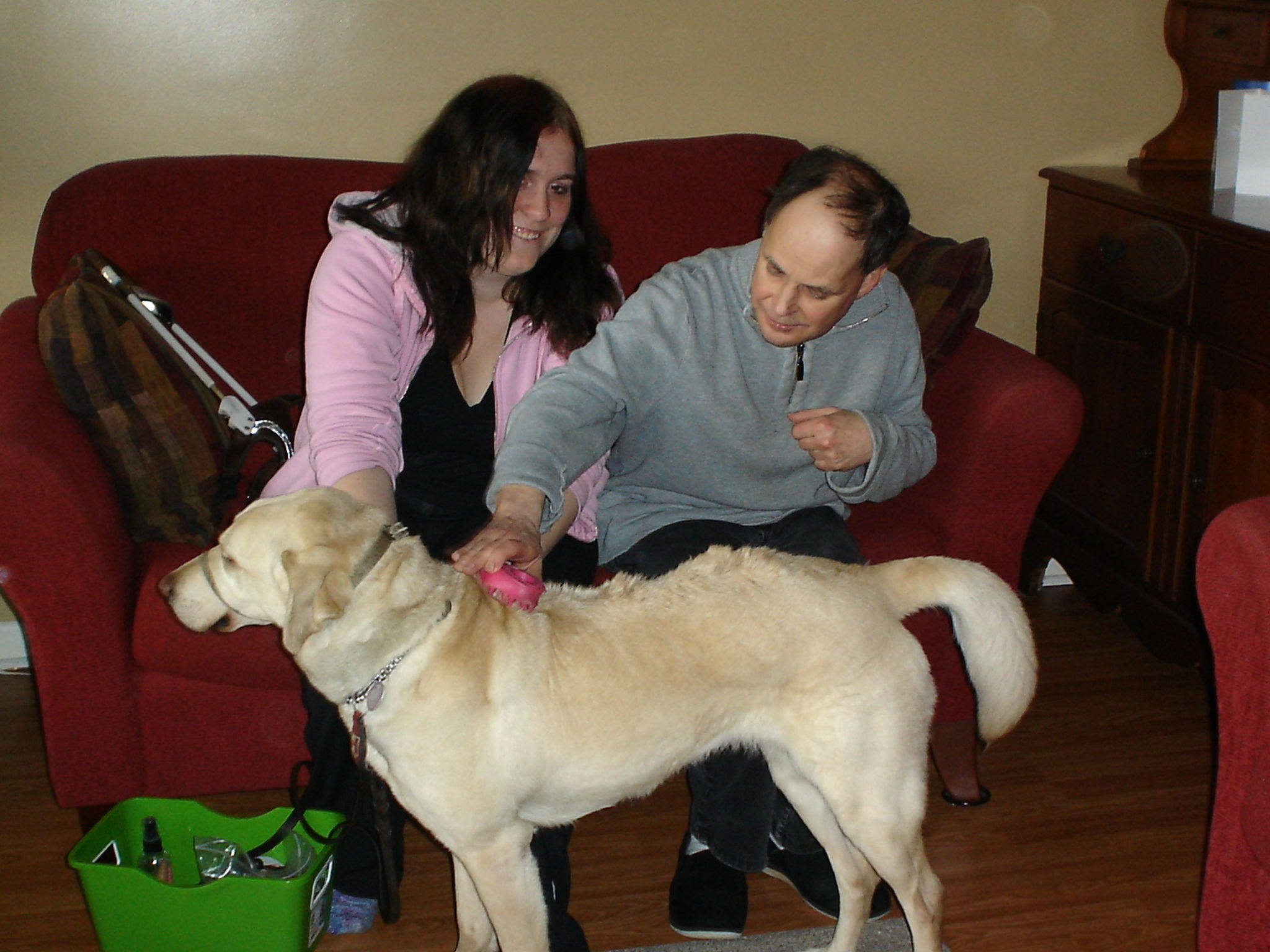 Blair with volunteer & guide dog